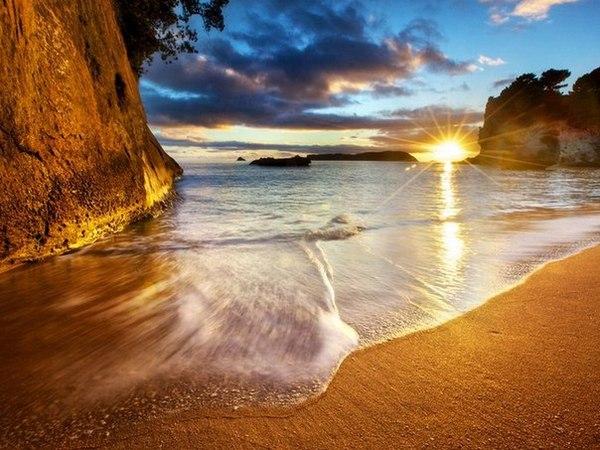 Закат. Новая Зеландия. Полуостров Коромандель