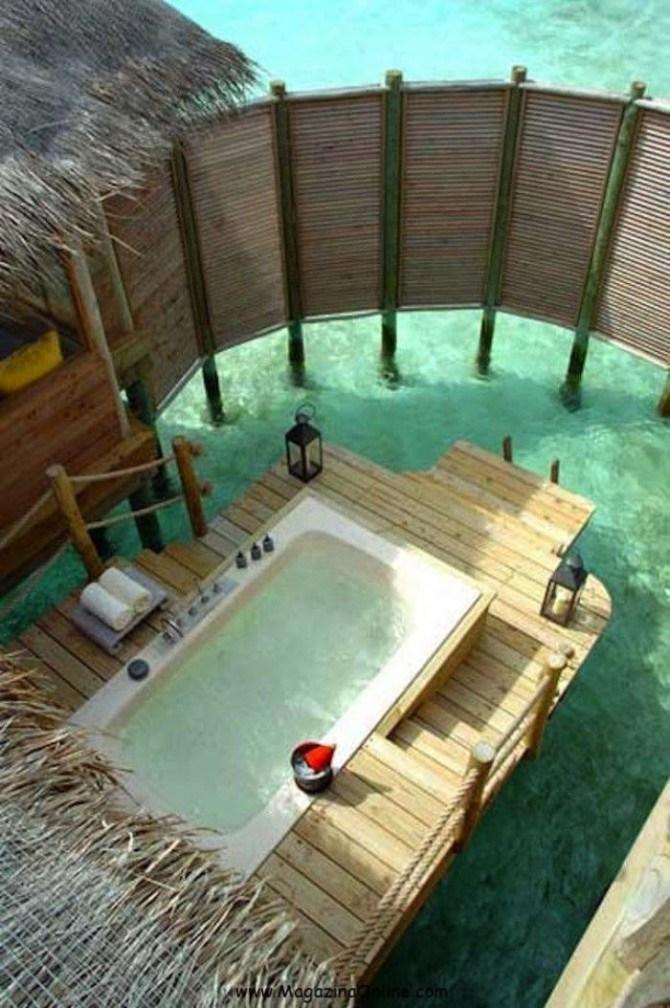 Открытая ванная на Мальдивах