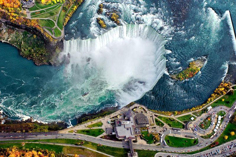 Ниагарский водопад в Канаде, вид сверху