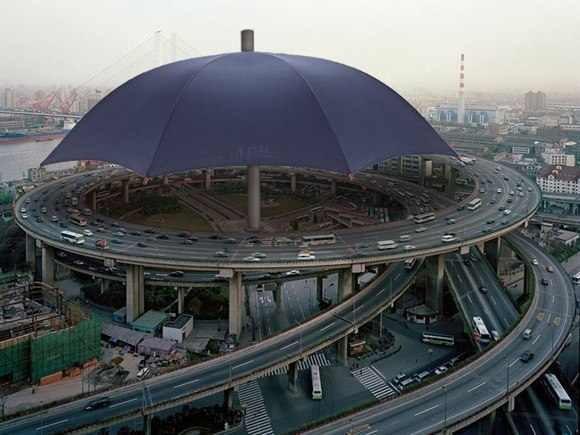 Самый большой зонт в мире находится в Китае, провинция Gansu