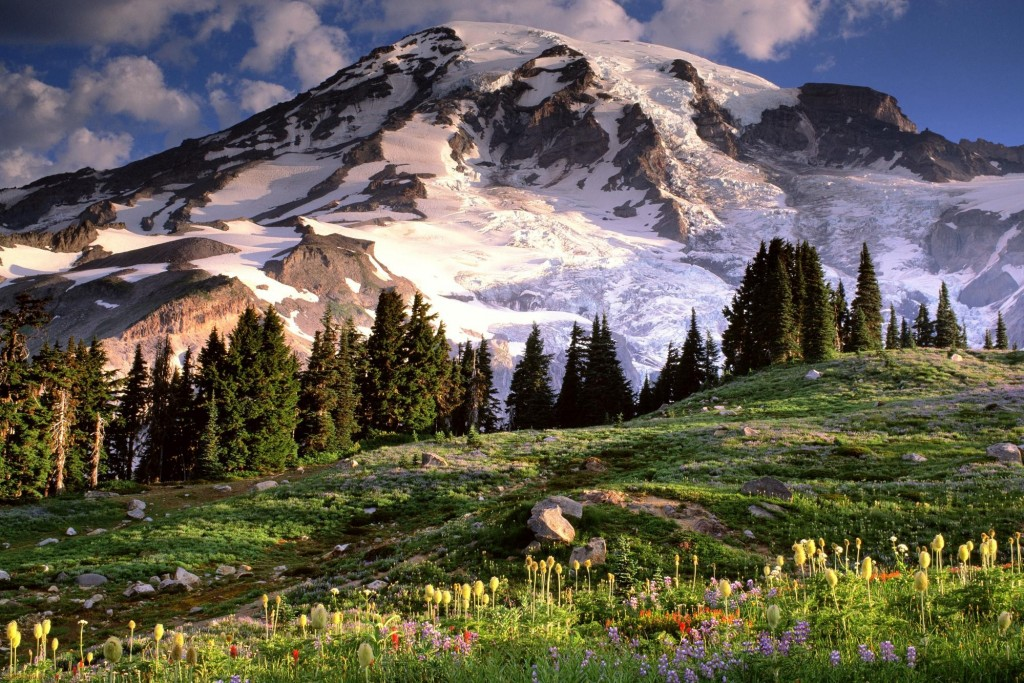 Заснеженные вершины гор